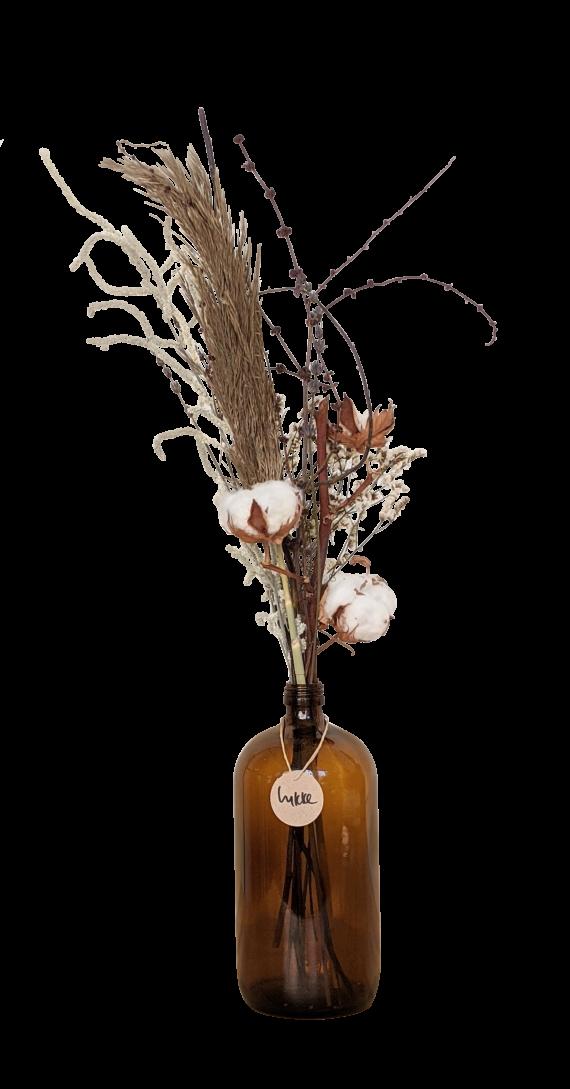 פרחים מיובשים פמפס כותנה חרדלית לבנדר כיסופית בבקבוק מקסי חום ליקה